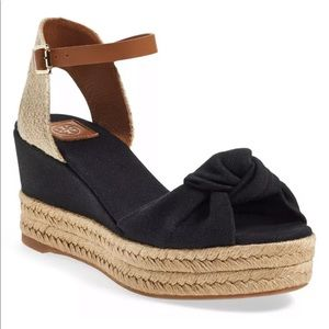 Tory Burch Knotted Bow Wedge Sandals Espadrilles